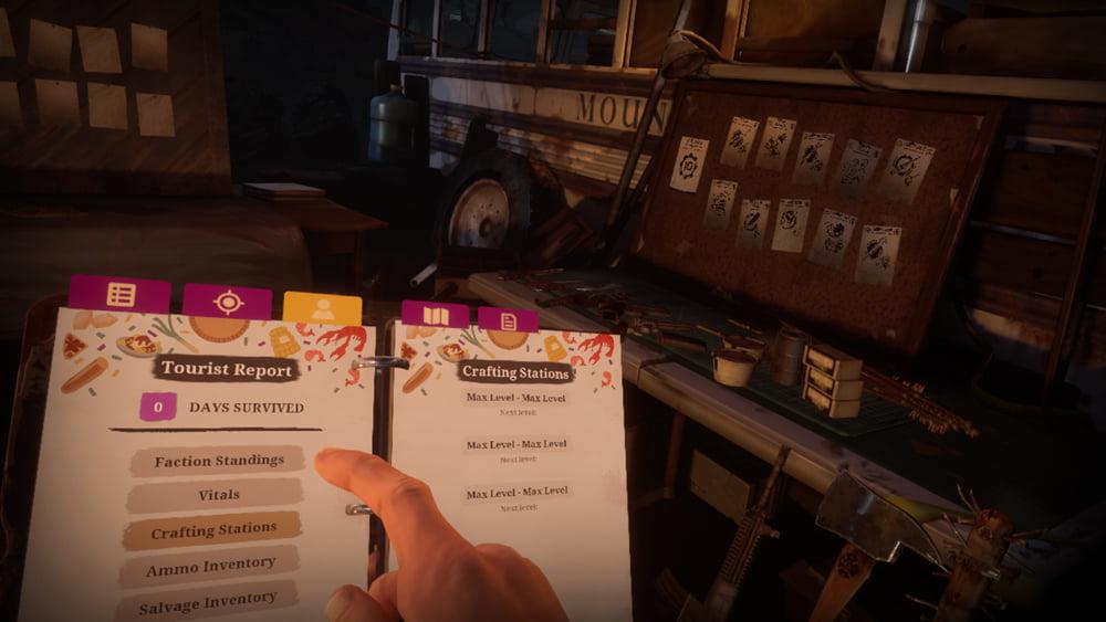Ihr könnt allerhand Waffen und Ausrüstung bauen. Stehts an eurer Seite: Ein praktisches Notizbuch in dem alle Quests, Notizen und Karten gespeichert sind.