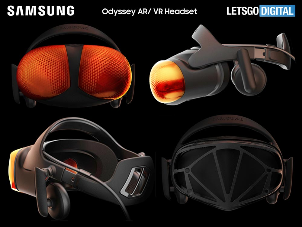 Sieht spektakulär aus, ist aber wohl nicht für die Produktion gedacht: Samsungs VR-Brille in Bienenaugen-Optik. | Bild: Samsung / WIPO via Let's Go Digital