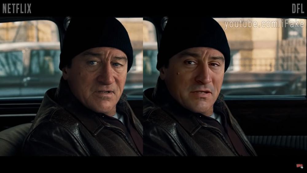 Irishman DeAging Deepfake vs Netflix_Fotor