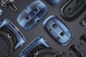 Promobild der VIVE Cosmos-Serie mit Controllern, Brillen und Faceplates