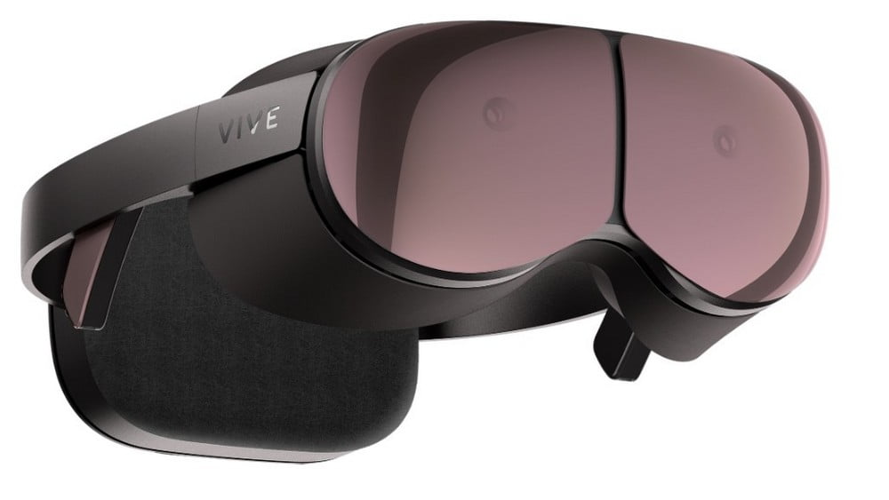 VR-Brille Prototyp Vive Proton mit Computereinheit am hinteren Kopfband