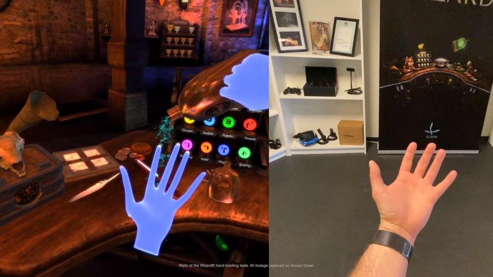 Virtuelle Hand in Waltz of the Wizard gießt aus einer Flasche etwas auf die andere Hand, beides auch außerhalb VR sichtbar