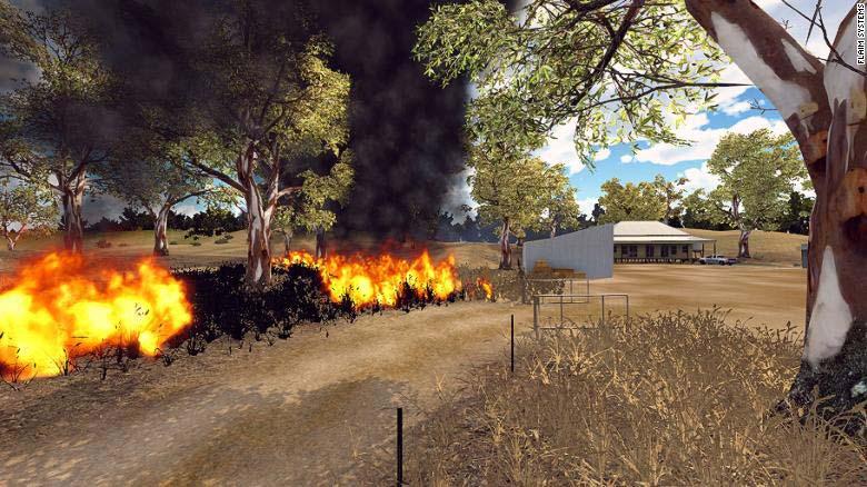 Das Löschen von Buschfeuern kann in VR regelmäßig und gefahrlos trainiert werden - so können die Feuerwehrleute Routine aufbauen. Bild: Flaim Systems