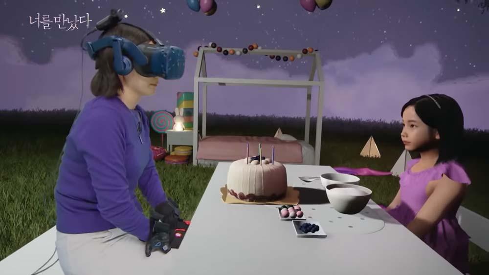 Mutter und Avatar-Tochter beim virtuellen Picknick.