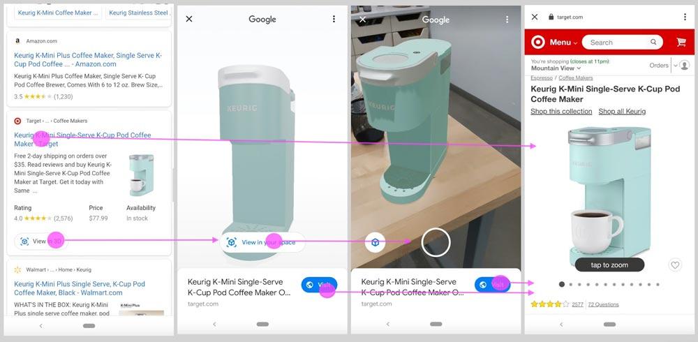 Zukünftig sollen Nutzer ein Produkt direkt aus der Google-Suche in 3D / AR ansehen und dann auf den Shop weitergeleitet werden. Bild: Google