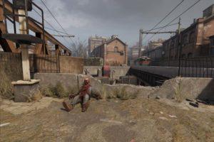 Postapokalyptisches Panorama mit Zombieleiche
