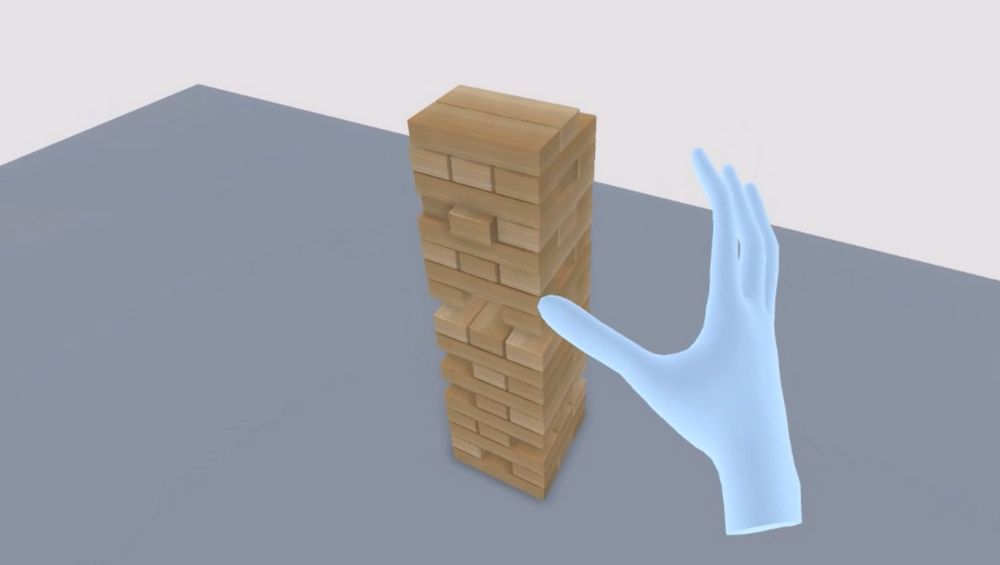 Virtuelle Hand spielt Jenga in VR mittel Oculus Quest Handtracking