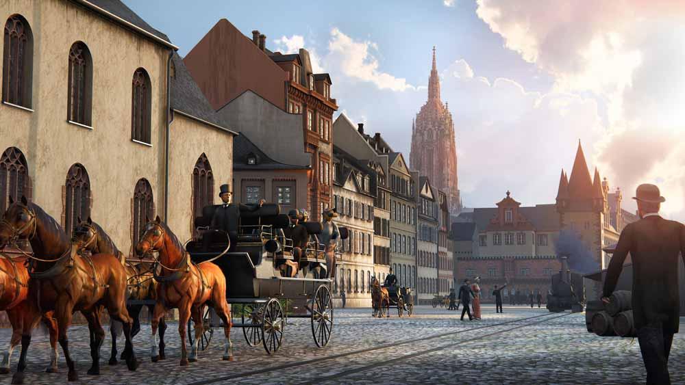 VR-Kutschfahrt durch das historische Frankfurt. Im Hintergrund sieht man den Dom. Bild: Timeride