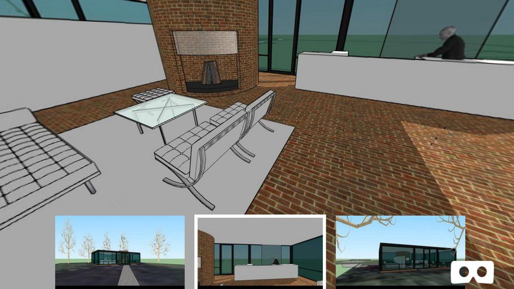 Inneneinrichtung eines 3D-Modells eines Glashauses in Sentio VR