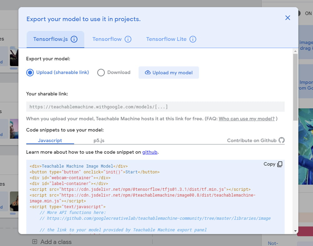 """Wer Programmieren kann, kommt hiermit klar. Wer nicht, klickt auf """"Upload my model"""" und bekommt einen Link, mit dem er sein Projekt teilen und im Browser ausprobieren kann."""