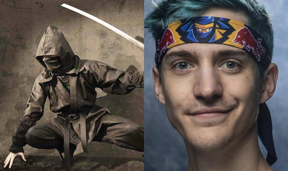 Ein Ninja hockt, ein Streamer blickt
