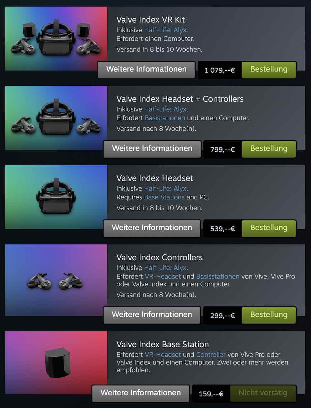 Valve Index Ausverkauft