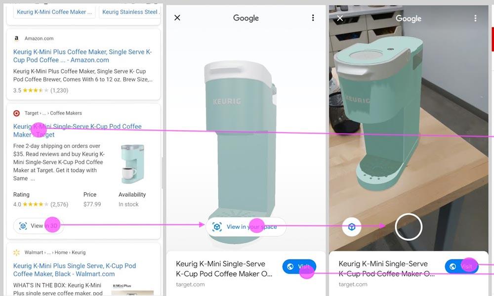 Seit einigen Wochen zeigt Google Produkte in den Suchergebnissen auch in 3D mit Augmented Reality an. Wie platziert ihr eure 3D-Modelle in der Google Suche?
