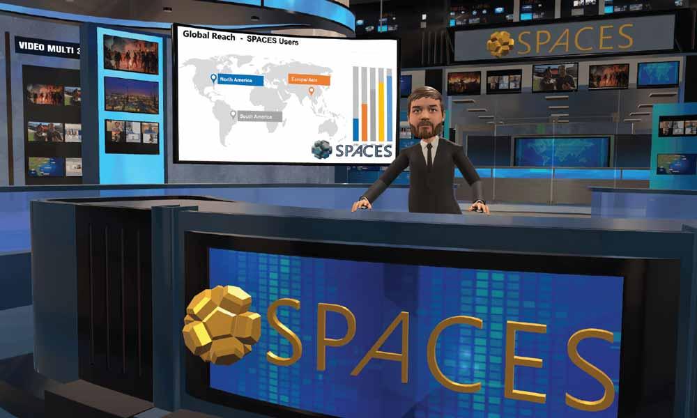 Spaces-Avatar moderiert von der virtuellen Nachrichtenzentrale aus.