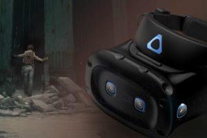 Im Vordergrund sieht man eine VR-Brille Vive Cosmos Elite, im Hintergrund Alyx aus Half-Life: Alyx