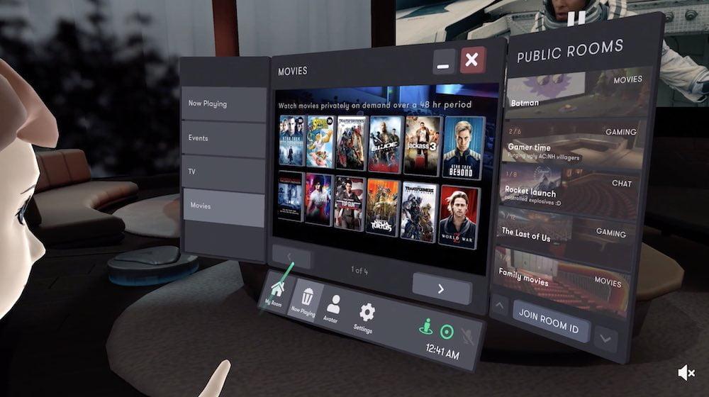 Auf das VR-Kino folgt die VR-Videothek: In Bigscreen könnt ihr euch jetzt Filme on demand leihen.