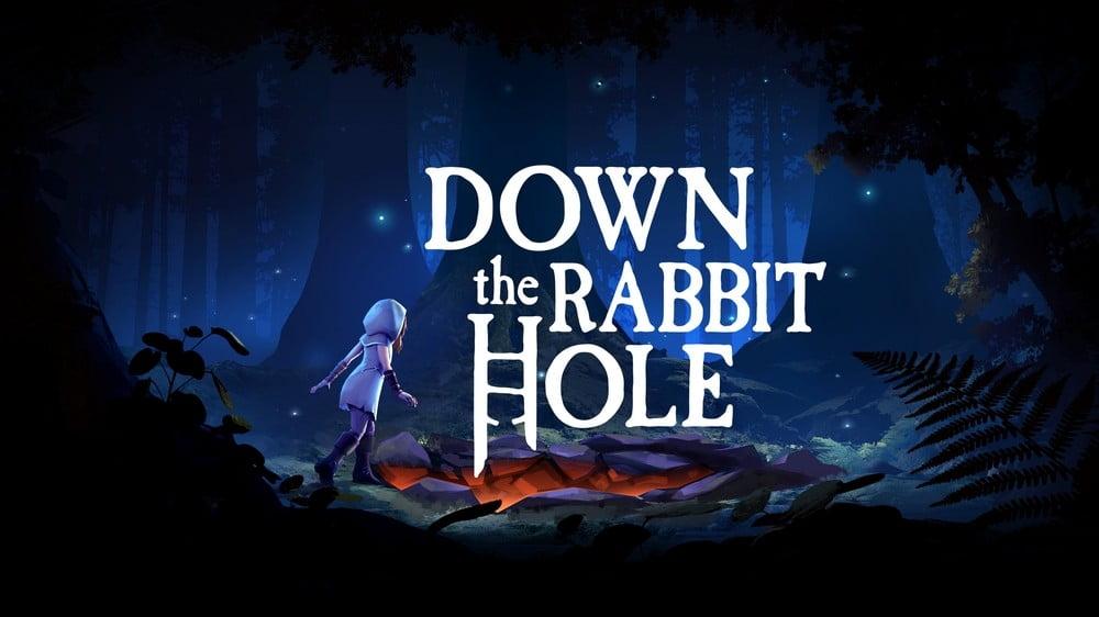 Mädchen und Down The Rabbit Hole-Schriftzug des VR-Spiels