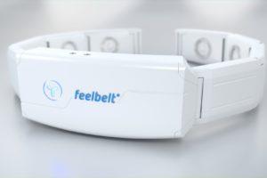 Feelbelt-Gürtel in Weiß vor grauem Hintergund