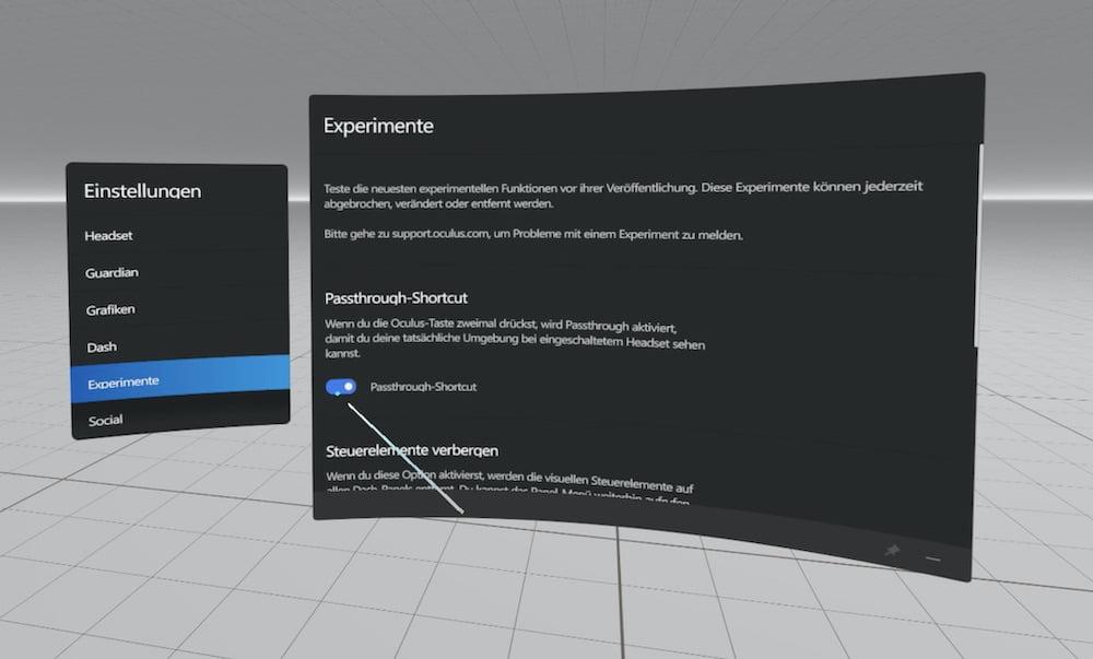 Oculus Rift S Passthrough Shortcut