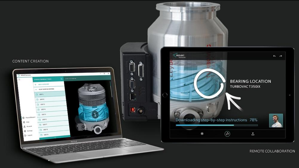 Tablet mit Reflekt Remote zeigt AR-Markierungen in Echtzeit an