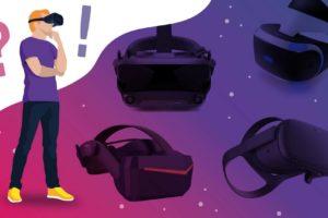 VR-Brillen-Vergleich von MIXED, Nutzer schaut fragend auf verschiedene VR-Brillen
