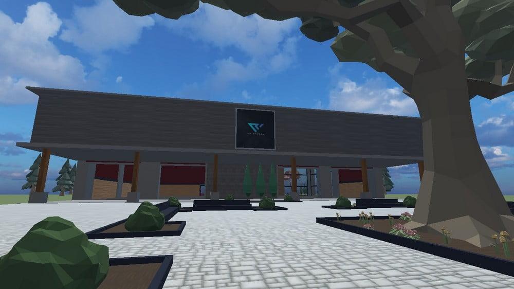 Virtuelles Gebäude der Virtual Reality Chruch mit Vorplatz und Baum im Vordergrund