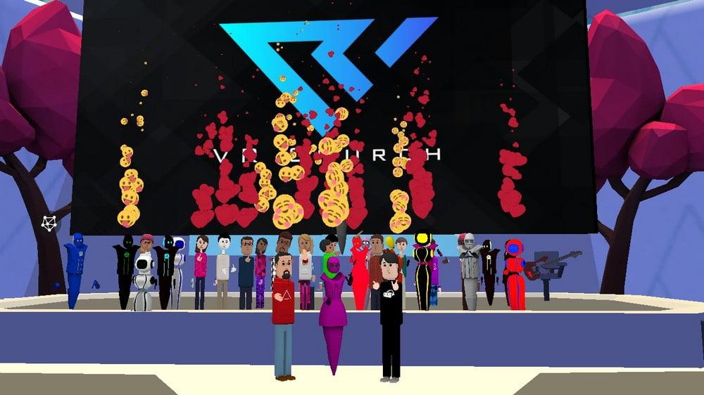 Gruppenbild mit Avataren von Teilnehmern an einem VR-Gottesdienst der Virtual Reality Church