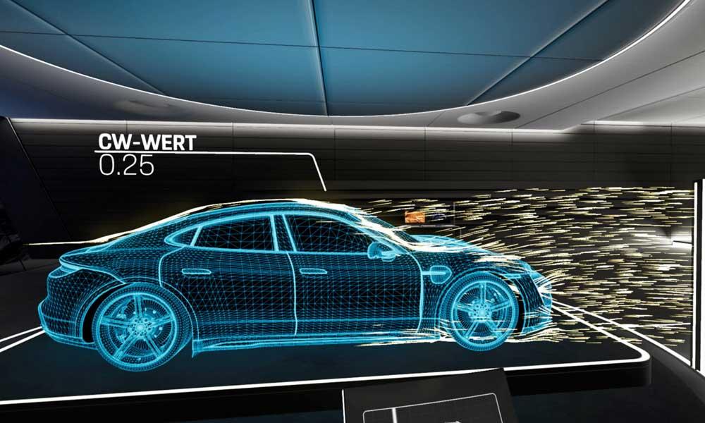 Die Taycan-VR-Erfahrung erweitert die normale Auto-Besichtigung mit digitalen Infos und Anblicken, die man in der Realität nicht haben kann. Bild: Porsche