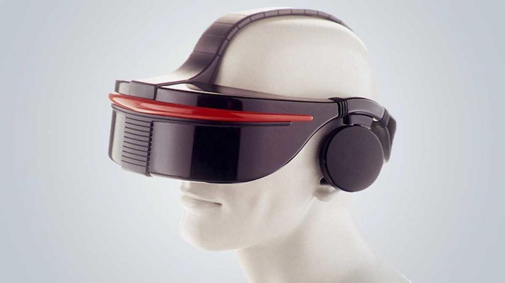 Die SegaVR VR-Brille auf einem Modell-Kopf