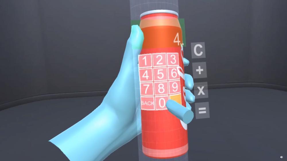 Auf einer virtuellen Cola-Dose erscheint das Tastenfeld eines Taschenrechners