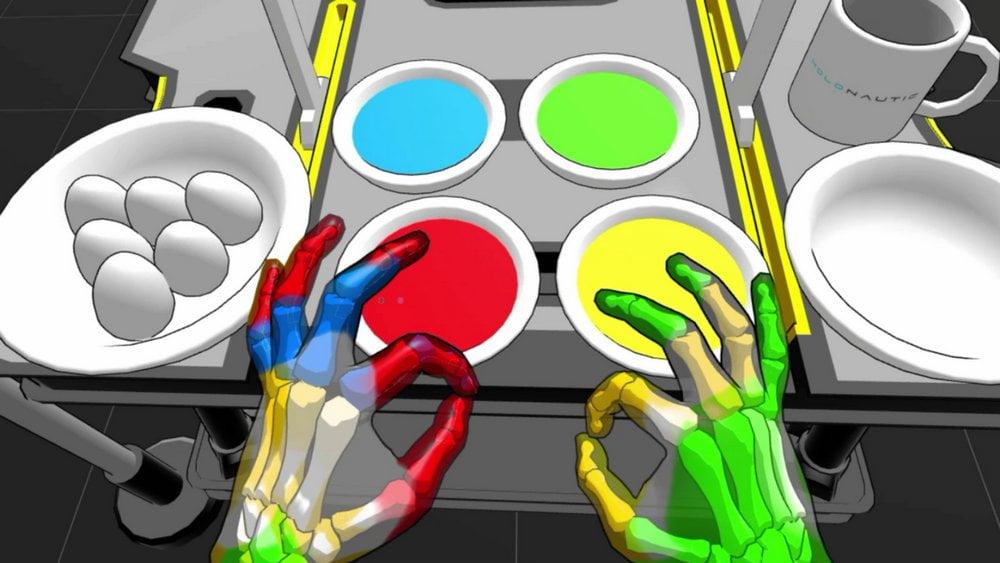 Virtuelle, farbige Hände in der VR-Demo Hand Physics Lab zum Handtracking auf der Oculus Quest