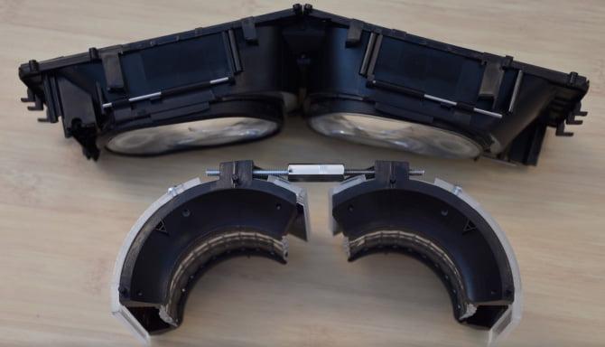 Im Vergleich zum optischen System von Pimax ist der Intel-Prototyp kompakter. Mit Verzerreffekten haben beide Systeme zu kämpfen. Bild: Intel