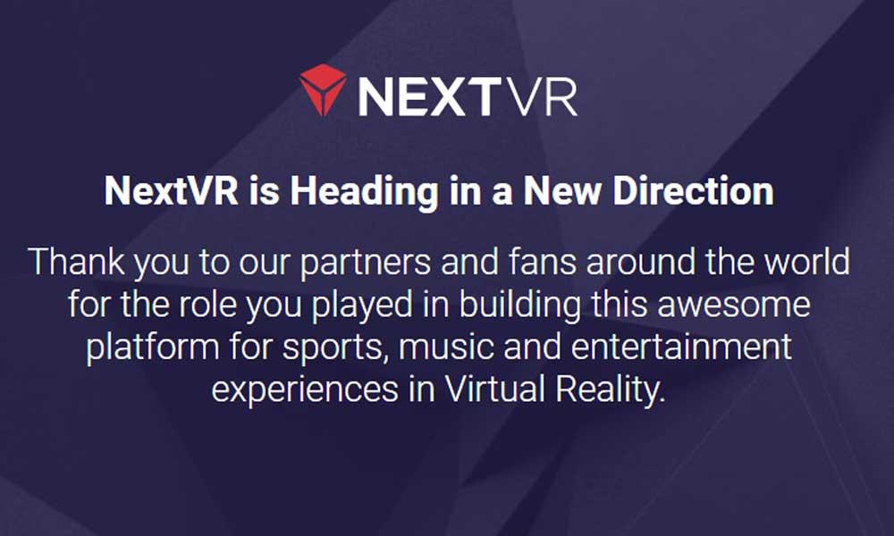 Nach der Apple-Übernahme verabschiedet sich NextVR bei VR-Streaming-Fans. Bild: Screenshot der Webseite