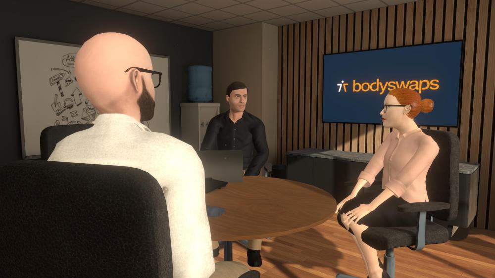 Drei Avatare sitzen in einem virtuellen Büro an einem Konferenztisch