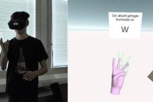 Das Quest-Handtracking ermöglicht neue Anwendungsszenarien wie das Lernen des Fingeralphabets.