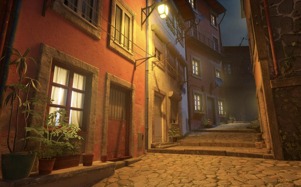 Half-Life Alyx Mod Porto Portugal bei Nacht_Straßenszene