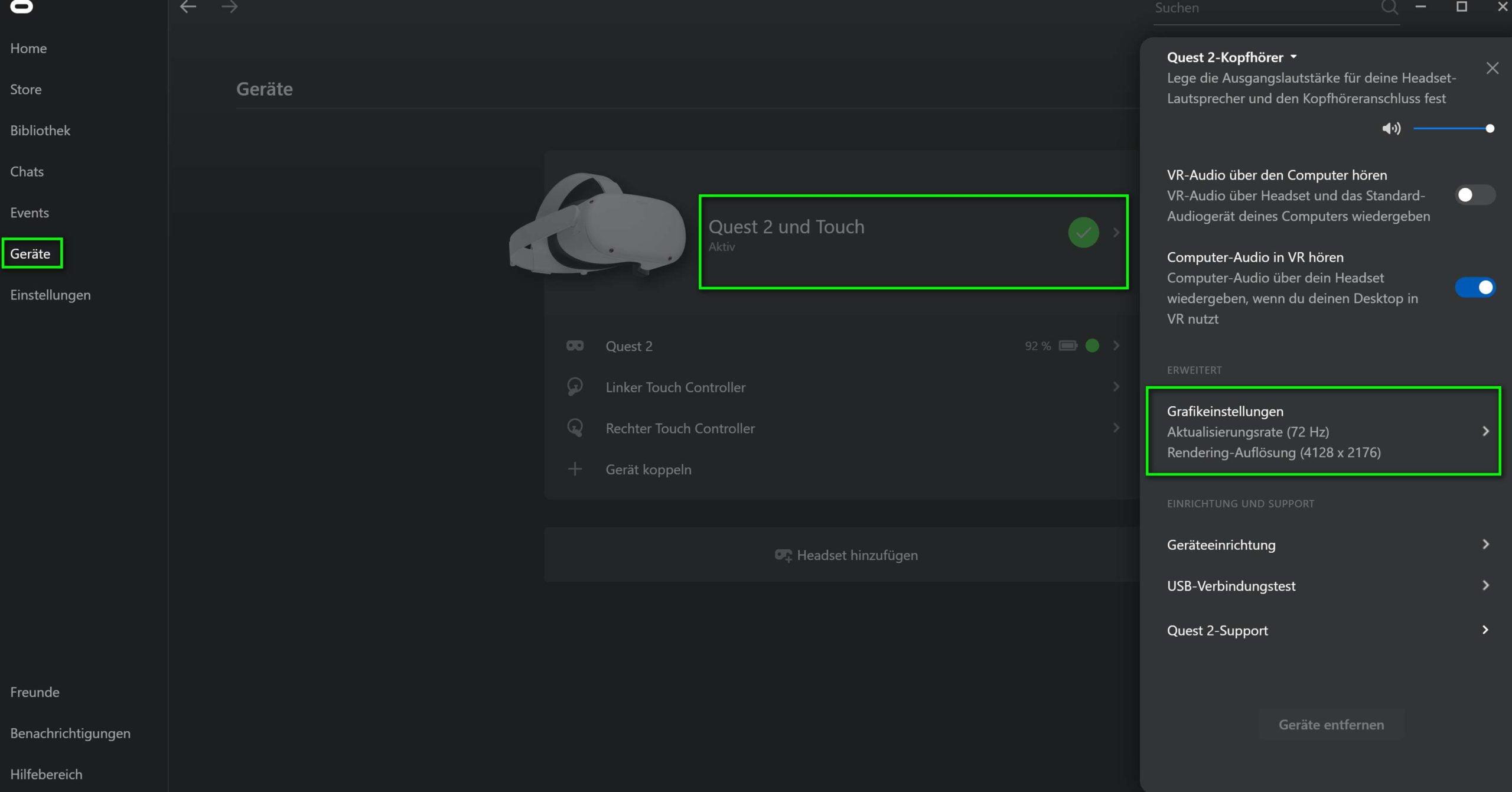 Oculus Link Einstellungen für Bildrate und Auflösung in der Oculus App