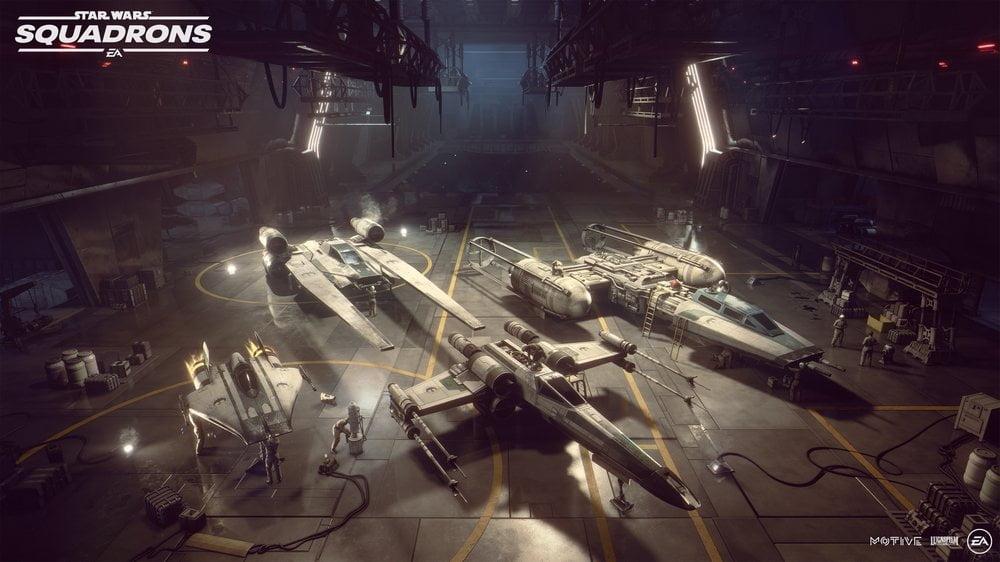 Hangar voller Sternenjäger in Star Wars: Squadrons