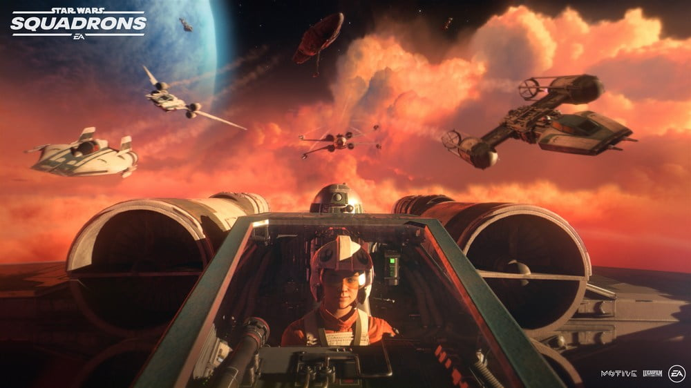 Pilotin im Cockpit in Star Wars: Squadrons