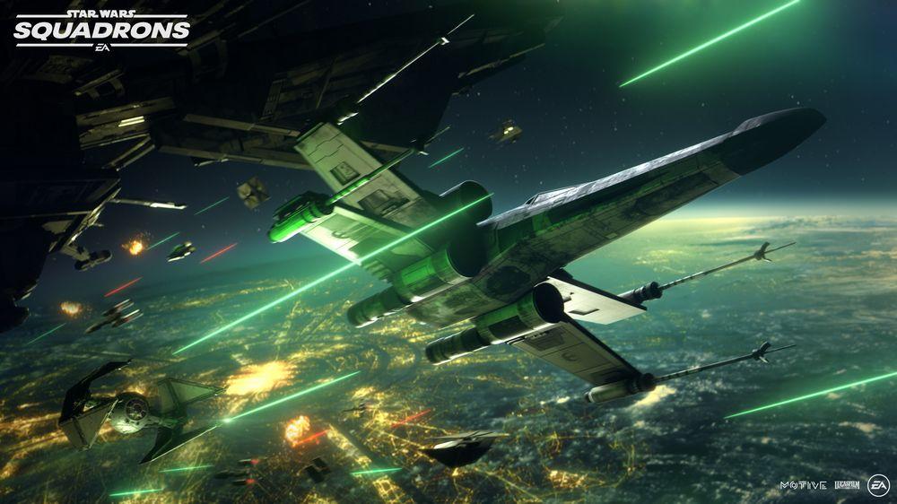 Raumkampf über einem Planeten in Star Wars: Squadrons