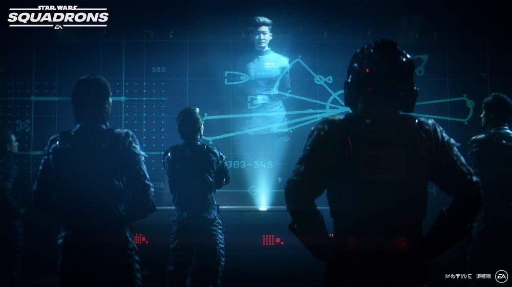Piloten in Star Wars: Squadrons beim Briefing durch ein Hologramm
