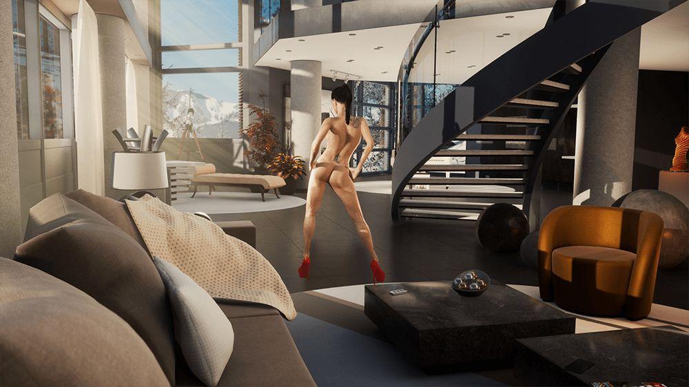 Digitalisierte Pornodarstellerin in luxuriöser Umgebung