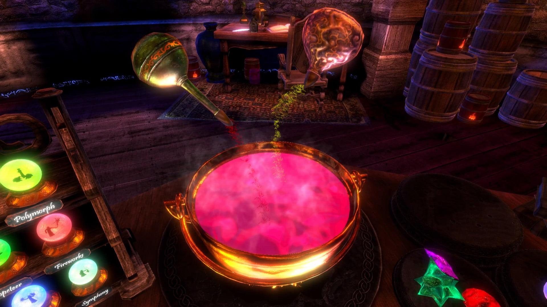 Zwei Fläschchen kippen eine Tinktur in den zauberkessel im VR-Spiel Waltz of the Wizard