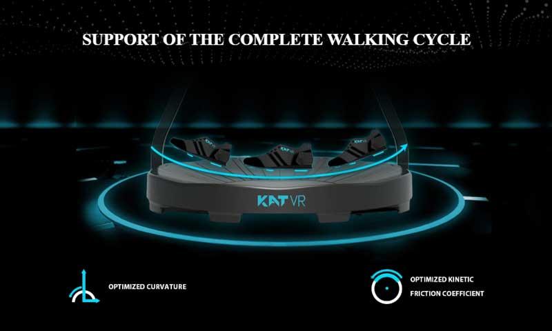 Die neu gestaltete Laufbandbasis soll den menschlichen Gang möglichst natürlich wiedergeben. Sie ist nach außen leicht gekurvt, um das Abrollen und Aufsetzen beim Gehen zu erleichtern. | Bild: Kat VR