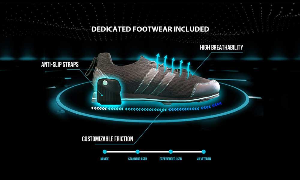 Kat Walk C sollte nur mit einem Spezialschuh belaufen werden. Über den Schuh kann der Widerstand beim Laufen justiert werden. | Bild: Kat VR