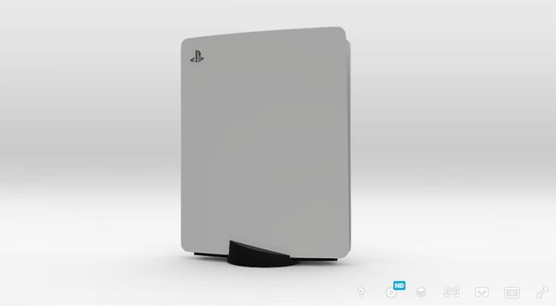 Ein inoffizielles PS5-3D-Modell bei Sketchfab kann per Smartphone-AR im eigenen Wohnzimmer angesehen werden. | Bild: Virtual Studio (Screenshot)