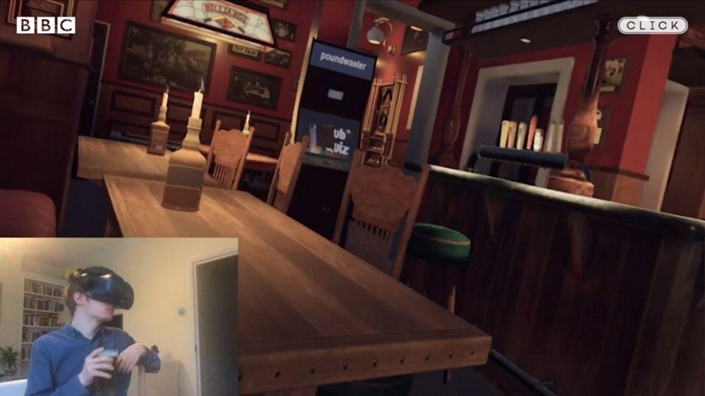 Blickin einen Pub, der für VR nachgebaut wurde
