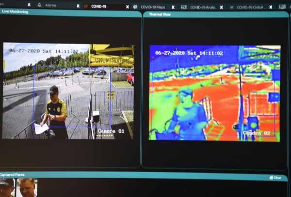 Eine Wärmebildkamera in Kombination mit KI-Bildanalyse soll beim Einlass ins Stadion einen schnellen Temperatur-Check ermöglichen. | Bild: G2K Group