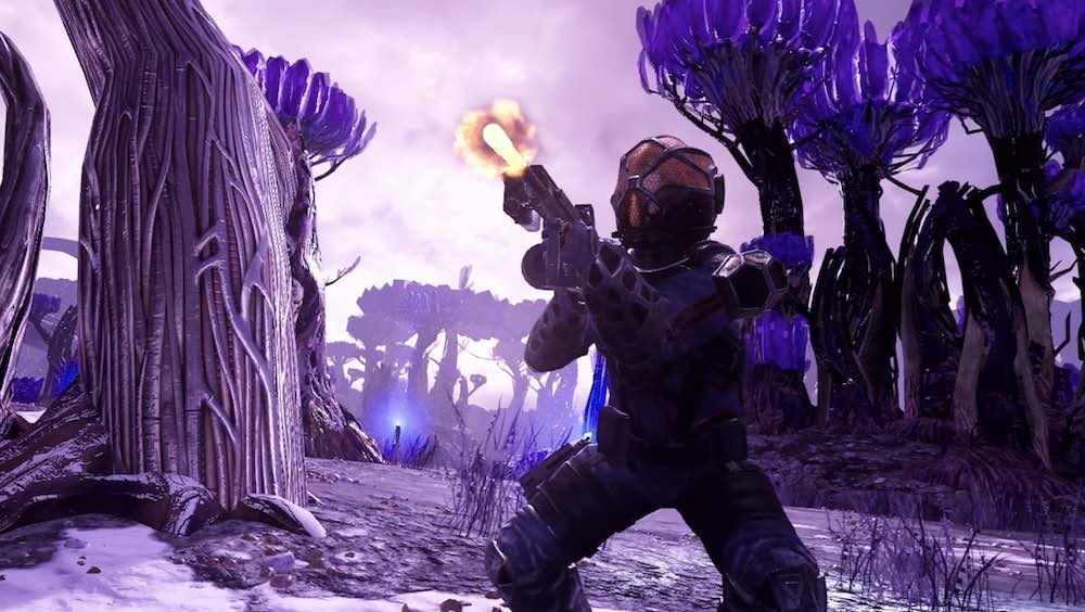 Frostpoint-Spieler schießt in Alien-Landschaft