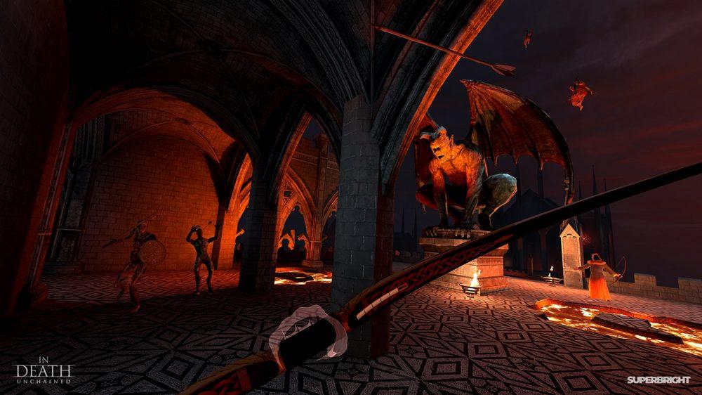 Steinerner Gargoyle in roter Höllenumgebung mit Skletten, die gegen den Spieler in In Death Unchained anrennen